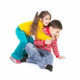 Brother and sister playing Stock Images