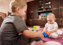 Brother and sister playing royalty free stock image