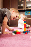 Brother and sister playing Royalty Free Stock Photo