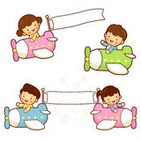 Brother and sister playing in the airplane. Home and Family Char Royalty Free Stock Photos