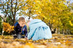 Brother and sister playing in fall leaves Stock Images