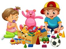 Brother and Sister Playing Toys. Illustration Royalty Free Stock Photo