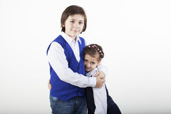 Brother and sister posing Royalty Free Stock Photography