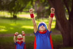 Brother and sister pretending to be superhero Royalty Free Stock Photography
