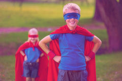 Brother and sister pretending to be superhero Royalty Free Stock Image