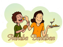 Brother and sister for Raksha Bandhan celebration. Royalty Free Stock Photos