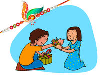 Brother and sister for Raksha Bandhan celebration. Royalty Free Stock Image