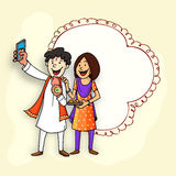 Brother and sister for Raksha Bandhan celebration. Time to take selfie, Happy brother and sister enjoying and celebrating Raksha Bandhan festival, with Stock Photos