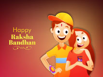 Brother and Sister for Raksha Bandhan. Happy Brother and Sister enjoying and celebrating Rakhi Festival on glossy background, Elegant Greeting Card design for Royalty Free Stock Photos