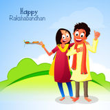 Brother and Sister for Raksha Bandhan. Happy Brother and Sister enjoying after celebrating Rakhi Festival on nature background, Creative illustration for Indian Royalty Free Stock Image