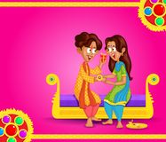 Brother and Sister in Raksha Bandhan. In vector stock illustration