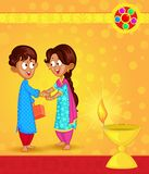 Brother and Sister in Raksha Bandhan Stock Photo