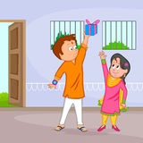 Brother and Sister in Raksha Bandhan. In vector Royalty Free Stock Image