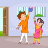 Brother and Sister in Raksha Bandhan Royalty Free Stock Image
