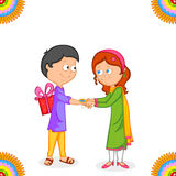Brother and Sister in Raksha Bandhan. In vector royalty free illustration