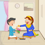 Brother and Sister in Raksha Bandhan Stock Images