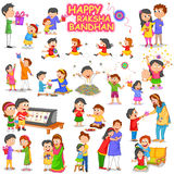 Brother and Sister in Raksha Bandhan Stock Photos