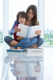 Brother and sister reading a book Stock Photos