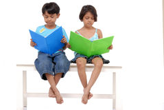 Brother and sister reading books on bench. Twins brother and sister reading interesting books Stock Photography