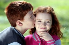 Brother, Sister, Red Hair, Freckles Royalty Free Stock Photo