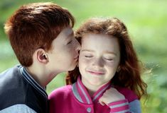 Brother, Sister, Red Hair, Freckles Stock Photo