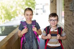 Brother sister school go. Two cute kids brother sister go to school Stock Image