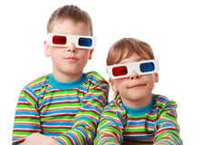 Brother and sister in shirt and anaglyph glasses Royalty Free Stock Images