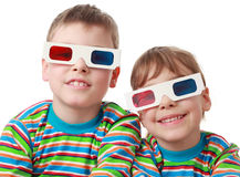 Brother and sister in shirt and anaglyph glasses Stock Photo