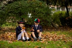 Brother and sister sitting on autumn leaves Royalty Free Stock Image