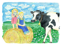 Brother and sister sitting on haystack and cow in the field. Vintage rural background with summer landscape, watercolor illustration with design graphic elements Royalty Free Stock Images