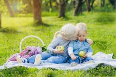 Brother and sister sitting on summer meadow stock images