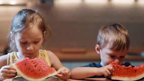 Brother and sister sitting at the table on kitchen. Boy and girl eating juicy watermelon on the plate, bites the pieces. stock footage