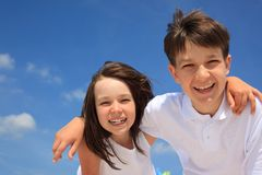 Brother and sister smiling Royalty Free Stock Images