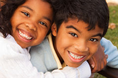 Brother and sister smiling and laughing. Royalty Free Stock Photo