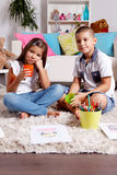 Brother and sister spend time at home Stock Image