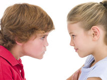 Brother and sister staring. At each other Stock Images