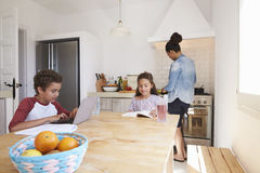 Brother and sister study in kitchen and mum cooks, close up Stock Image