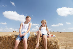 Brother sister summer laughs Stock Photos
