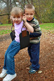 Brother and sister swinging. A view of a young brother and sister playing together outdoors on a swing Royalty Free Stock Photo
