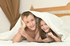Brother and sister with tablet pc Royalty Free Stock Photos