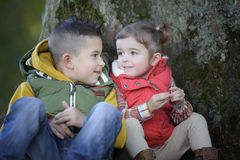 Brother and sister talking to each other outdoors Stock Images