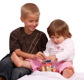 Brother and Sister with Toy Royalty Free Stock Photography