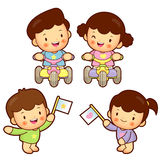 Brother and sister tricycle race. Home and Family Character Desi Royalty Free Stock Image