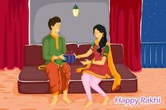 Brother and Sister tying Rakhi on Raksha Bandhan. In vector Royalty Free Stock Photo