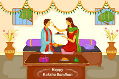 Brother and Sister tying Rakhi on Raksha Bandhan. In vector Stock Images