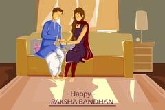 Brother and Sister tying Rakhi on Raksha Bandhan. In vector Stock Photos