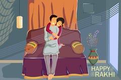 Brother and Sister tying Rakhi on Raksha Bandhan. In vector Stock Photography