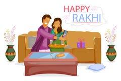 Brother and Sister tying Rakhi on Raksha Bandhan. In vector Stock Photo