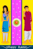 Brother and Sister tying Rakhi on Raksha Bandhan. In vector Royalty Free Stock Photos