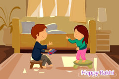 Brother and Sister tying Rakhi on Raksha Bandhan. In vector stock illustration